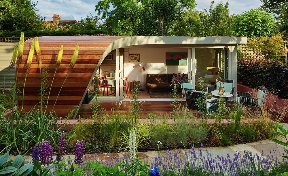 Bespoke outdoor studio in a lanscaped garden