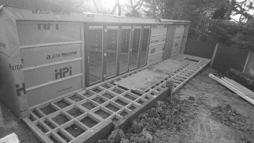 garden office with outdoor deck area