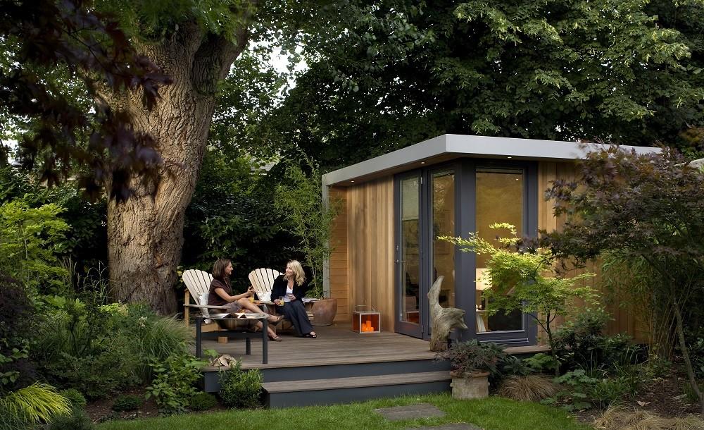 Luxury garden room with raised decking area