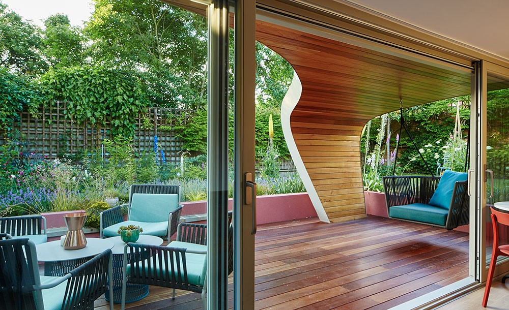 Bespoke garden office patio area
