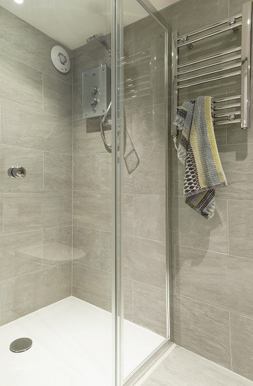 Shower room in a garden self-contained studio