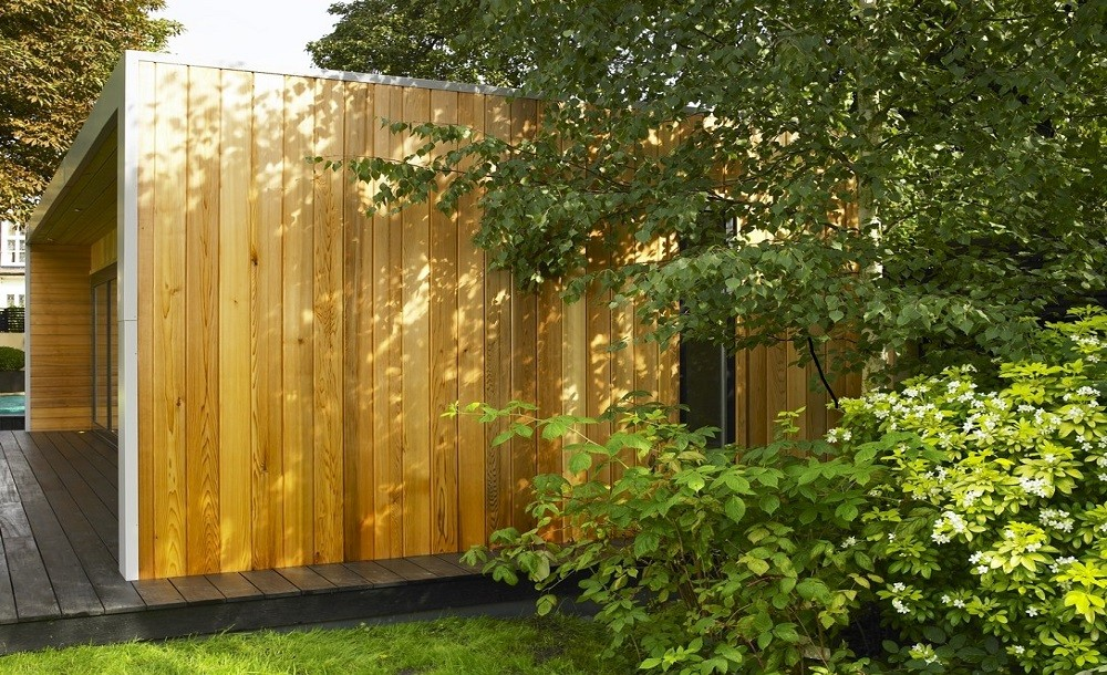 Standard Western Red Cedar cladding in a Cuberno garden room