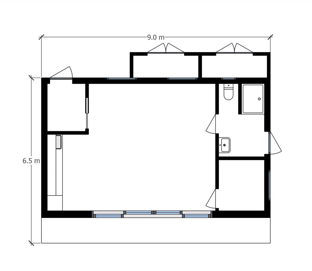 Floor plan garden poolside room in Saffron Walden+