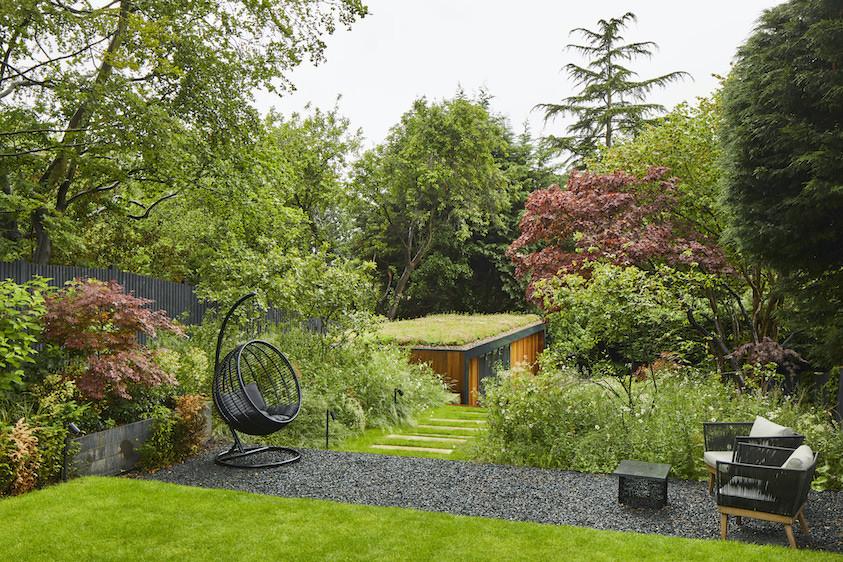 Biophilic garden office with sedum roof