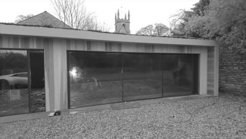 modular garden garage cladded in Western Red Cedar