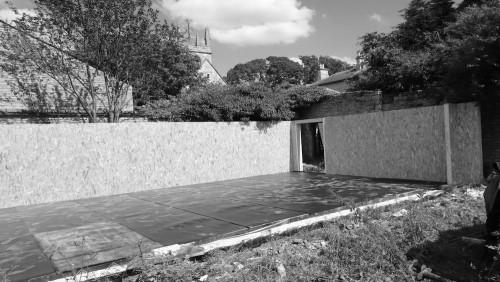 garden room garage concrete base and walls