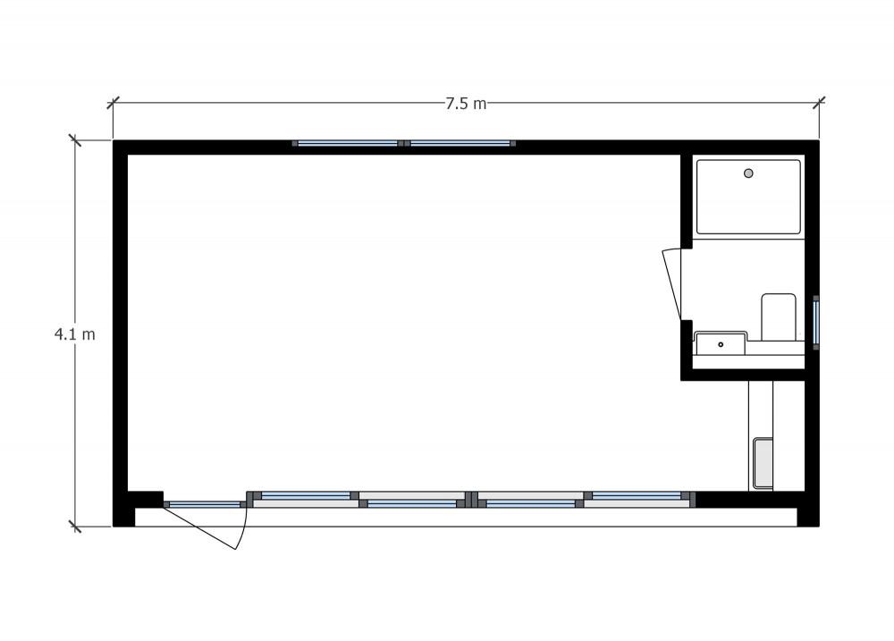 Floor plan of a Putney garden annexe+