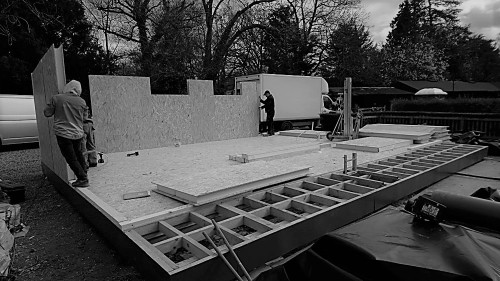 Construction works for a bespoke garden room with swimmingpool