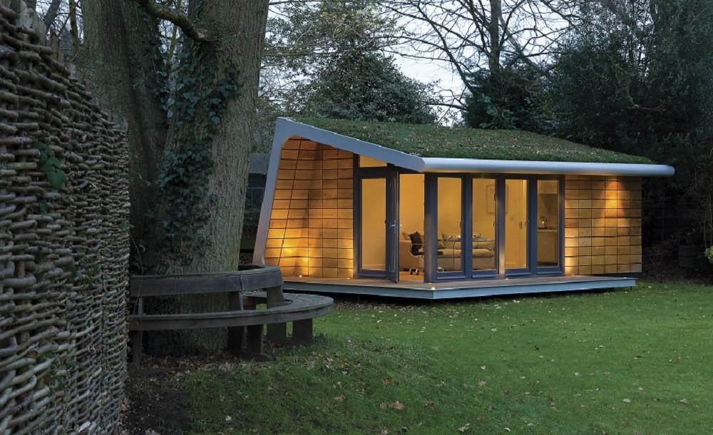 Bespoke garden studio with sedum roof